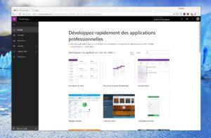 L'écran d'accueil du tableau de bord de Microsoft PowerApps