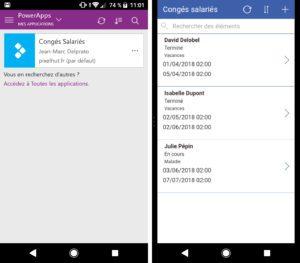 Le résultat sur mobile, avec l'application PowerApps qui collecte ainsi des données pour votre projet BI