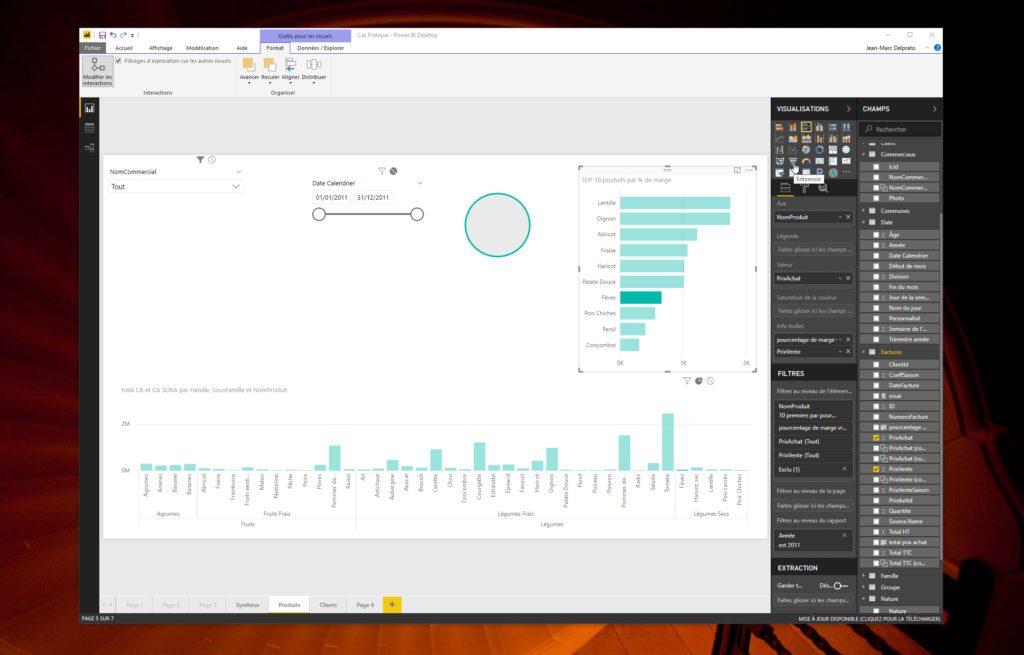 En mode Rapport, parcourez la liste des outils de visualisation sur le volet droit de Power BI Desktop